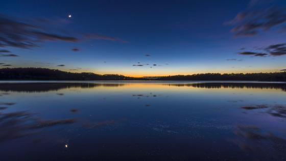 Night sky reflected in loch wallpaper