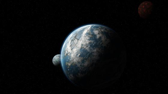 Red and blue planets artwork wallpaper