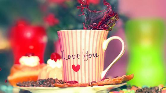 Tea cup and desserts wallpaper