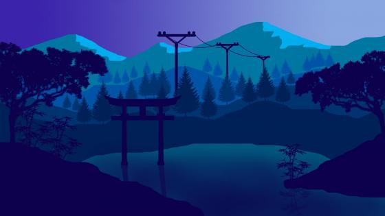 Japan landscape - flat design wallpaper