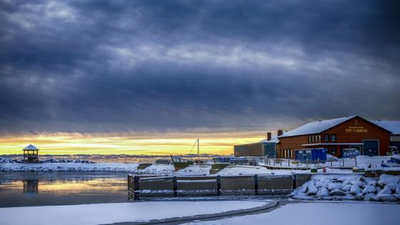 Winter landscape under the cludy sky wallpaper