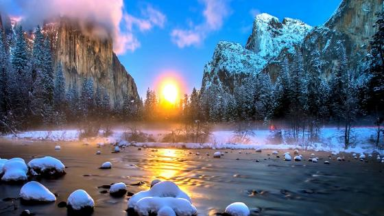 El Capitan and the Half Dome view from Yosemite Valley, Yosemite National Park, California, United States wallpaper