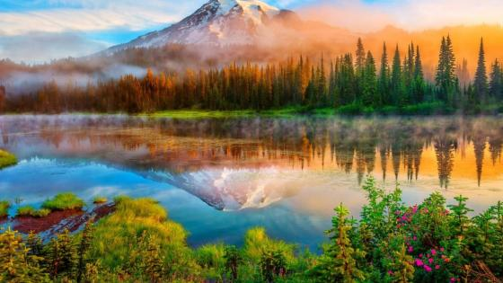 Mount Rainier in the sunrise - Washington, USA wallpaper