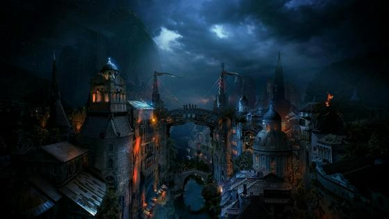 Fantasy medieval city art wallpaper