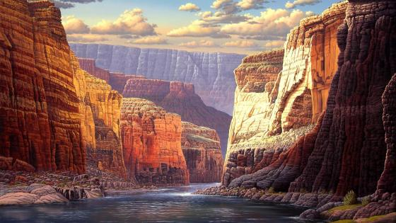 Grand Canyon painting artwork wallpaper