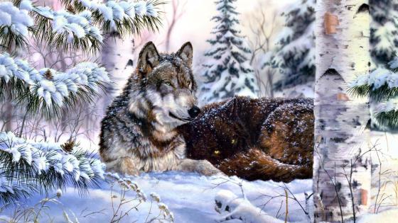 Gray wolf winter painting art wallpaper