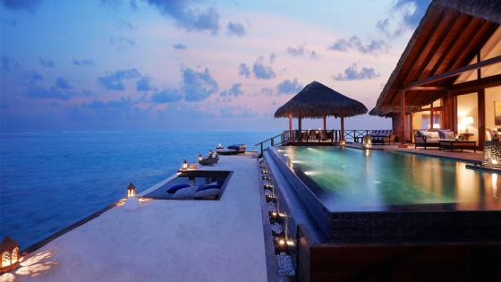 Exotic Maldives summer night with stunning views of the Indian Ocean wallpaper
