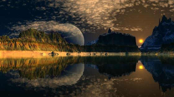 Fantasy landscape with a huge moon in the sunset wallpaper