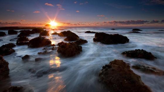 Sunset over the Maori Bay, New Zealand wallpaper