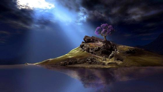 Magical dreamy island with a lone purple tree wallpaper