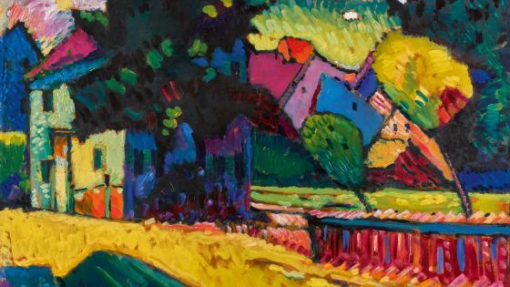 Kandinsky: Murnau – Landscape with green house wallpaper