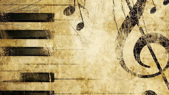 Vintage design - Piano key and treble clef wallpaper