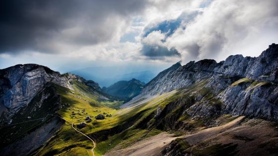 Rocky ridges in Swiss Alps, Switzerland wallpaper