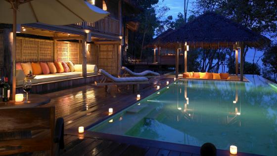 Dreamy terrace with swimming pool in Ko Yao Noi island, Thailand wallpaper