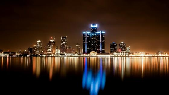 Detroit cityscape at night wallpaper