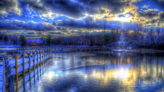 Bluish magical winter lights at dusk wallpaper