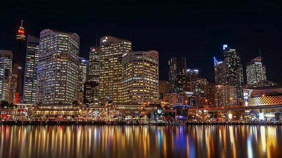 Darling Harbour at night - Sydney, Australia wallpaper