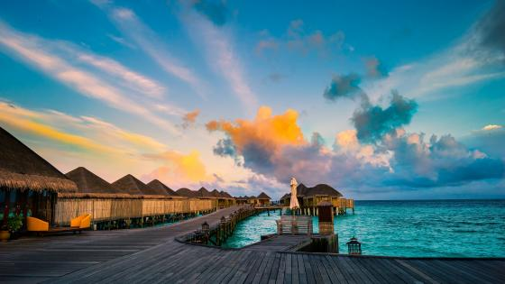 Water villas in the Maldives wallpaper