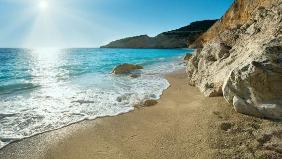 Exotic blue colour of the beach - Lefkada, Greece wallpaper