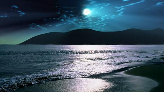 Dover Beach in the moonlight wallpaper