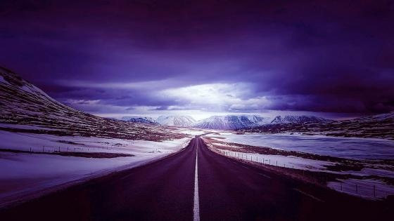 Road Mountains Snow wallpaper