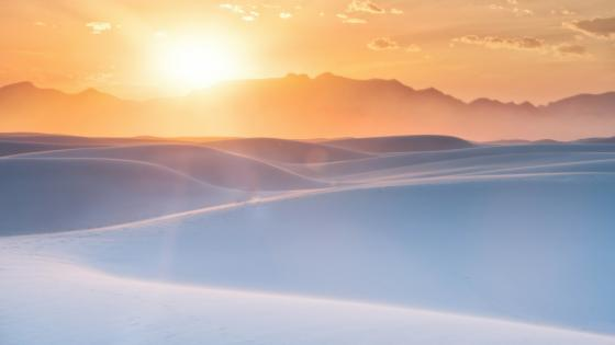 Sunrise over the white desert dune wallpaper