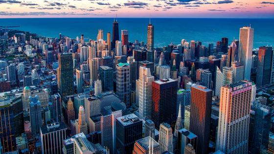 Chicago skyscrapers - Aerial photography wallpaper