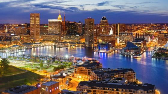 Baltimore cityscape with the Inner Harbor - Maryland, United States wallpaper