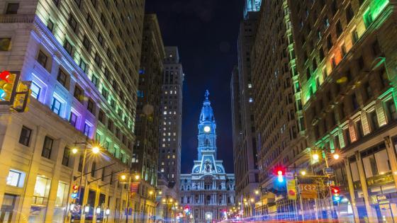 Philadelphia City Hall at night wallpaper