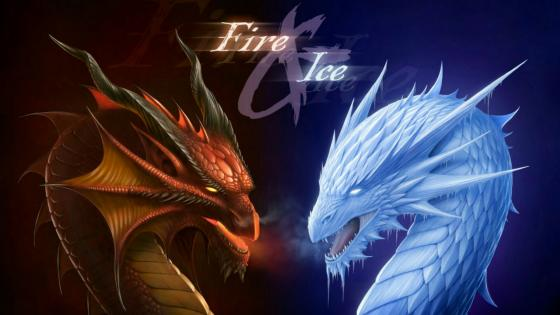 Fire dragon vs ice dragon wallpaper
