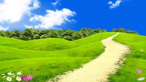 Dreamy grass field  in the hills - Fantasy art wallpaper