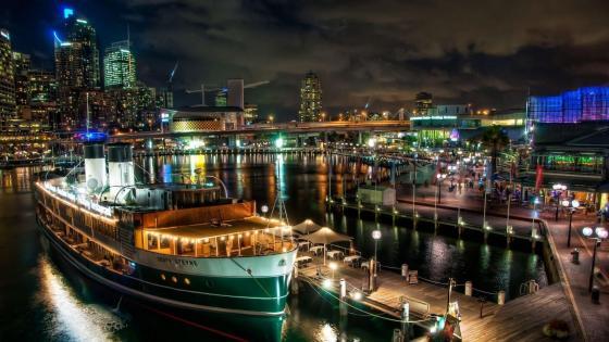 Darling Harbour at night, Sydney, Australia wallpaper