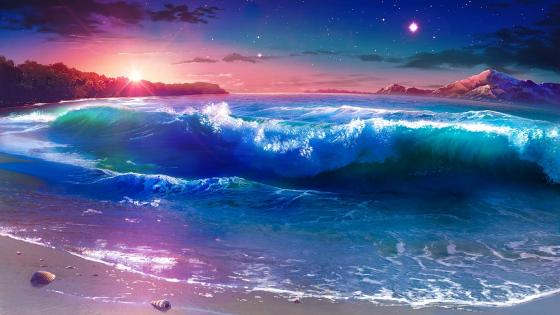 Starry night over the seashore - Fantasy landscape wallpaper