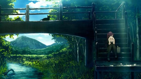 Anime girl sitting on the stairs wallpaper