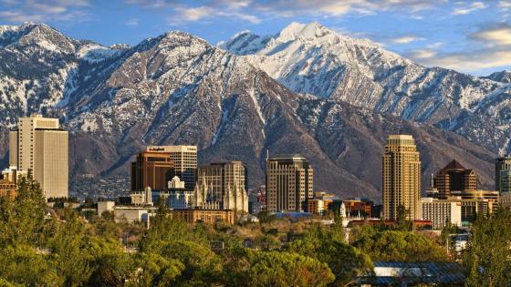 Wasatch Range and Salt Lake City wallpaper