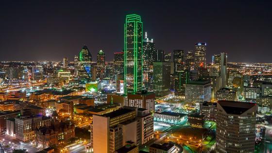 Reunion Tower at night, Dallas, Texas, USA wallpaper