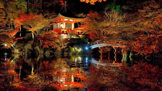 Autumn night over Daigo-ji temple, Kyoto, Japan wallpaper