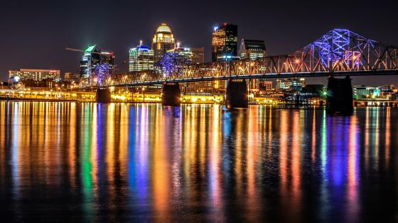 Downtown Louisville at night wallpaper