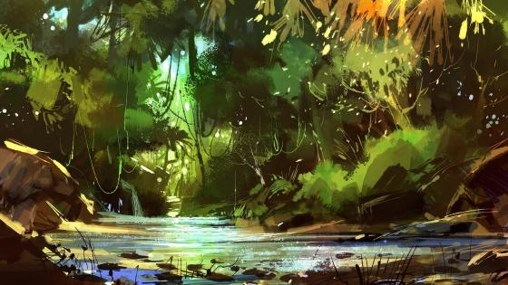 Rain Forest Painting wallpaper