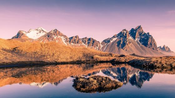 Perfect mountain reflection wallpaper