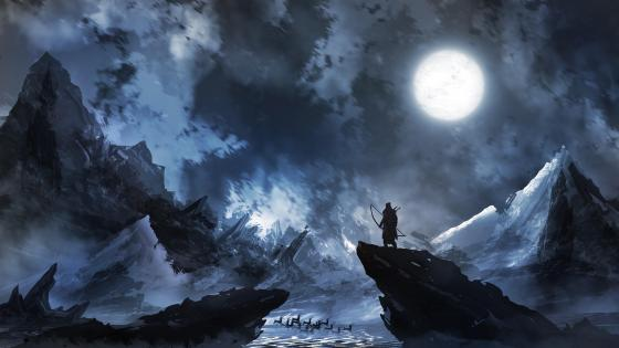 Warrior in the moonlight fantasy art wallpaper
