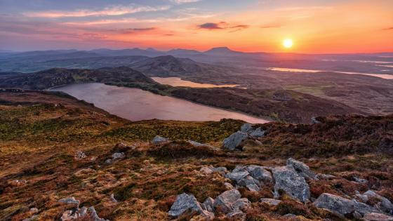 Lough Salt Mountain top view at sunrise -  Donegal, Ireland wallpaper