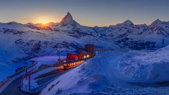 Matterhorn view from Gornergrat railway station wallpaper