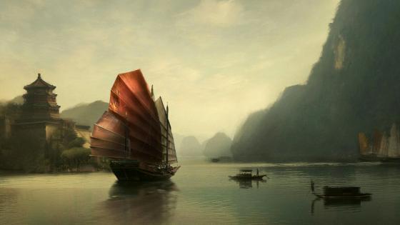 Chinese sail ship - Painting art wallpaper