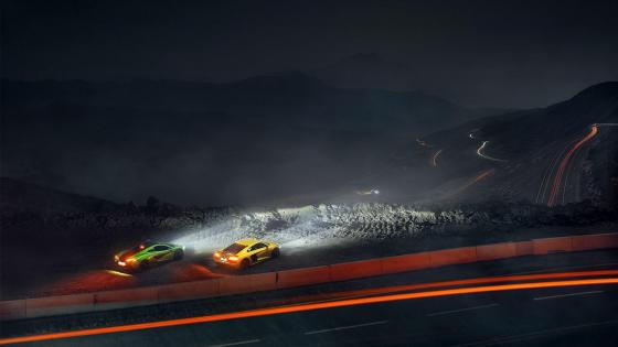 Audi R8 and McLaren P1 at night wallpaper