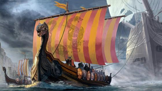 Viking dragon ships artwork wallpaper