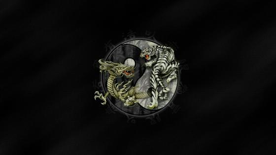 Tiger and dragon Yin and Yang wallpaper
