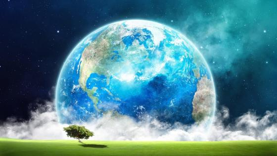 Huge earth above the field - Fantasy art wallpaper