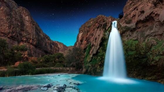 Havasu Falls at night, Arizona wallpaper