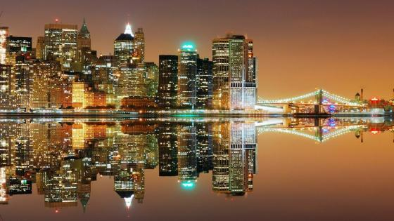 New York City night reflection wallpaper